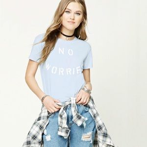 "Forever 21 Baby Blue ""No Worries"" Graphic Tee"